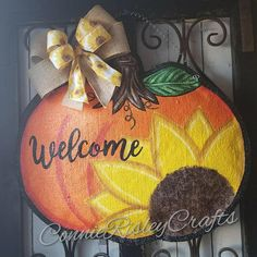 Hey, I found this really awesome Etsy listing at https://www.etsy.com/listing/528980290/sunflower-pumpkin-burlap-door-hanger
