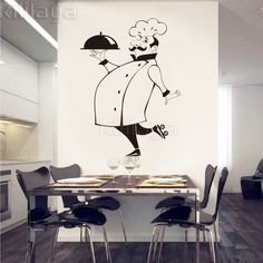 Funny Chef Wall Stickers for Kitchen Tile Glass Walls Waterproof Vinyl Wall Sticker Home Decor Wall Decals House Decoration GG49