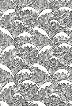 beautiful waves colouring page, in an artistic japanese style. grown up colouring