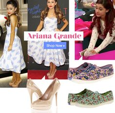 #ArianaGrande red carpet and street style - nude patent pumps & floral print Keds®!