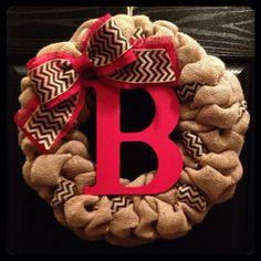 Polka Dot and Chevron Burlap Wreath with Initial- Front Door - Year Round Wreath- Wedding Gift- Monogram Wreath- Fall Wreath