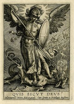 Published by Johannes Colaert Print made by Hieronymus Wierix Date 1619 (after) Description St Michael triumphing over the dragon; St Michael, holding a spear and a shield, seen standing on a dragon, piercing his mouth with the spear. Catholic Art, Religious Art, St Michael Prayer, Archangel Tattoo, Religious Tattoos, Ange Demon, Saint Michel, Desenho Tattoo, Guardian Angels