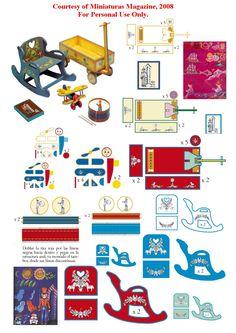Printable for Mini toys: rocker, plane, wagons & drum