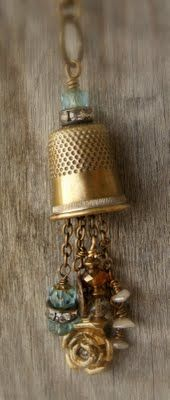 Thimble pendant - so clever! Love this one.  Could use the vintage grandmothers thimble, keep her close to my heart