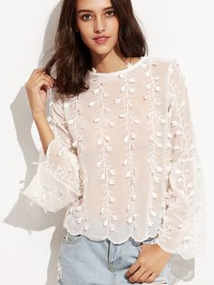 Shop White Flower Applique Bell Sleeve Lace Up V Back Top online. SheIn offers White Flower Applique Bell Sleeve Lace Up V Back Top & more to fit your fashionable needs.