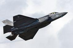 US Navy F-35C Lightning II rises into the sky above NAS Pensacola