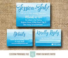 Blue and Teal, Watercolor Invite Suite or Save the Date-- DIY Printable, Digital File- Beach Wedding Ideas. Click through to find matching games, favors, thank you cards, inserts, decor, and more.  Or shop our 1000+ designs for all of life's journeys. Weddings, birthdays, new babies, anniversaries, and more. Only at Aesthetic Journeys