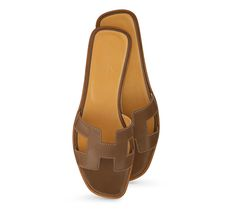1a3eedc825c1 Oran Hermes leather sandal in taupe kidskin
