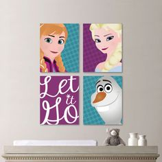 Baby Girl Nursery Print Art - Bold Bright Colorful - Disney Frozen Nursery Decor - Kids Wall Art - Elsa Anna Olaf Nursery Decor (NS-508)