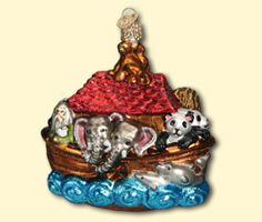 "Noah's Ark, 4 ¼"", glass ornament"