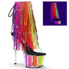 Hot For Heels And More - Pleaser Clear-UV Rainbow Rhinestones - Open toe and open heel, lace-up back ankle boot featuring fringe and chrome plated, simulated rhinestone filled platform Heel: Platform: 2 Sexy Sandals, Sexy Heels, Stiletto Heels, High Heels, Rainbow Heels, Rainbow Laces, High Heel Stiefel, Stripper Shoes, Fringe Ankle Boots