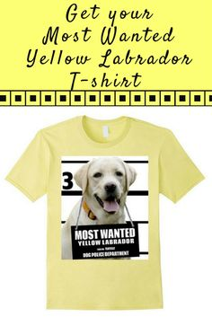 Most Wanted Yellow Labrador T-shirt - Dog Tee Shirts -- 100% Cotton. Imported. Machine wash cold with like colors, dry low. Anvil relaxed fit, black, brown, yellow, crew neck tee, sayings, quotes, unisex, man, women, girls, boys. Dog Lover t shirts, Yello