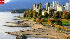 """Angus Praught snapped a shot of fall descending on Vancouver, British Columbia: """"Fall foliage near Sunset Beach in downtown Vancouver's West..."""