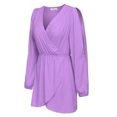 Women Long Sleeve Deep V-neck A-Line Dress Elastic Waist Solid Casual Club Mini Dress