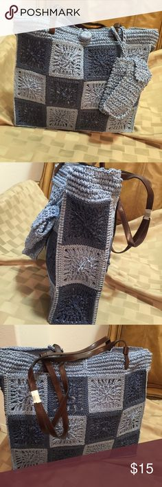 CROTCHET TOTE WITH CELL PHONE POUCH VERN NICE LOOKING TOTE  CAN FIT BOOKS ELECTRONIC GADGETS IN IT Bags Totes