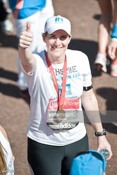 Katherine Grainger poses with her medal after completing the 2014 London Marathon on April 13, 2014 in London, England.