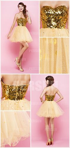Short Yellow tone Vintage Sleeveless Empire Sequin Sequin Party dress