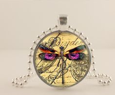 Purple Dragonfly and bees glass and metal Pendant necklace Jewelry.
