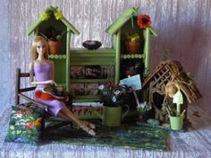 "AllforDoll OOAK Furniture DIORAMA 1:4 & 1:6 scale Miniature""GARDEN"" for 16"" Doll If you want to see the entire collection of Dioramas, please search on e-bay < AllforDoll diorama > or by item # 251429499069"