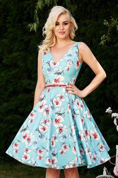 Rochie StarShinerS albastra-deschis de ocazie eleganta in clos cu imprimeu floral cu decolteu adanc Interior, Floral, Casual, Shopping, Dresses, Fashion, Rhinestones, Florals, Gowns