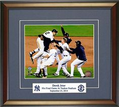 Legends Gallery The Final Celebration, New York Yankees Derek Jeter. The Captain Plays His Last Game At Yankee Stadium Framed 8x10 Photograph : New York Yankees
