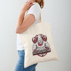 'Strength Be Committed To Yourself Graphic Angry Bull' Tote Bag by Workout Tanks, Workout Wear, Cotton Tote Bags, Reusable Tote Bags, Yoga Fitness, Fitness Wear, At Home Workouts, Yoga Workouts, Gym Motivation Quotes