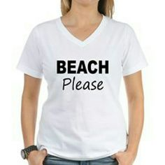 COMING SOON Beach Please White V-Neck tee Beach Please White V-Neck tee Tops Tees - Short Sleeve