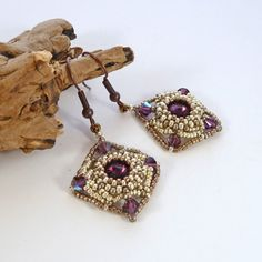 Purple & Silver Diamond Bead Earrings  by BeauBellaJewellery #jewelry #diamondshape #earrings #beads #Swarovski #amethyst #handmade #etsy #beaubella