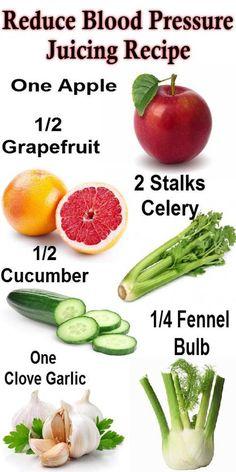 Reduce Blood pressure Juicing Recipe:  ❥ one apple  ❥ 1/2 grapefruit  ❥ 1/2 cucumber  ❥ one clove garlic... pinned with Pinvolve