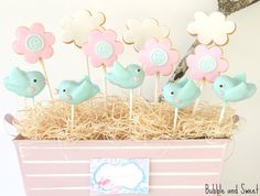 Cute bird cake pops and flower cookies (Bubble and Sweet).