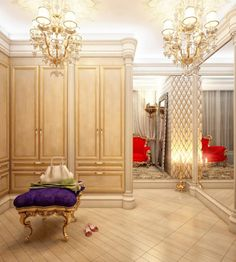 extravagant dressing room with chandelier, mirrored wall, custom woodwork...yeah, whatever... it has a PURPLE bench w/gilded legs.....sw♥♥n!!!!