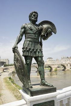 Modern bronze statue of an Illyrian warrior, Skopje