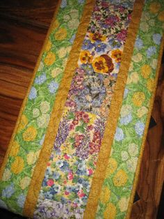 Quilted Table Runner Spring Flowers by TahoeQuilts on Etsy, $68.00