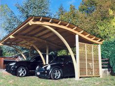 Wooden carports car ports and woods on pinterest for Carport 2 posti