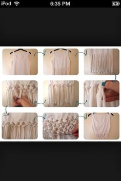 DIY shirt: I would leave the tassels as they are after one or two knots...