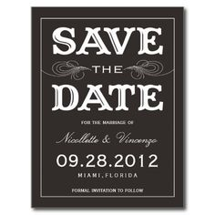 Black Vintage Save The Date Announcement Postcards Online