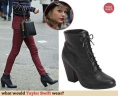 Taylor Swift's lace up boots. Outfit Details: http://wwtaylorw.com/3031