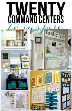 "A great list of 20 different organized ""command centers"" - ideas for all kinds of different spaces"