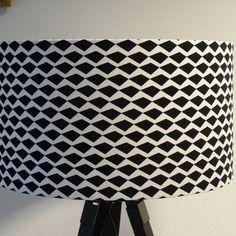 Abat jour pour suspension ou pied de lampe noir et blanc for Suspension noir et blanc
