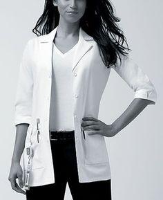 Dickies 82402 3/4 Sleeve Women's Lab Coat on model