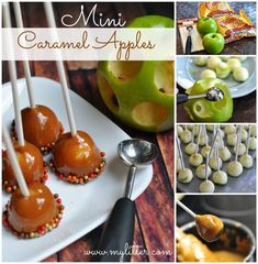 DIY Mini Caramel Apple Pops baking recipe recipes ingredients instructions desert recipes easy recipes autumn recipes desert recipe caramel apples