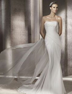 Fit & Flare Strapless Lace Bustline Asymmetrically Ruched Bodice Chiffon Wedding Dress-wf0094, $264.95