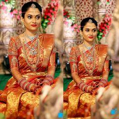The fabulous bride looked stunning in Traditional saree, Gold and red combination benaras shimmer saree, zamdhani weave floral theme embe. - black floral blouse, down the blouse, womens red blouse *ad Bridal Sarees South Indian, Wedding Silk Saree, South Indian Weddings, Indian Bridal Outfits, South Indian Bride, Kerala Bride, Bridal Lehenga, Indian Sarees, Indian Dresses