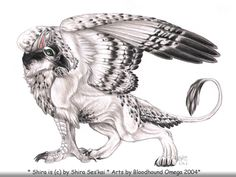 Xmas gift for Shira. Her Gryphon character. Partly Lion partly Osprey. It was actually fun to do this one, because after I drew the Bloodi-gryph picture, I had found out how to deal with the feathe...