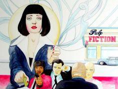 Mia Wallace dans Pulp Fiction. Aquarelle originale. Pièce unique.