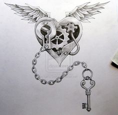 Wicked Steampunk Angel Heart Tattoo