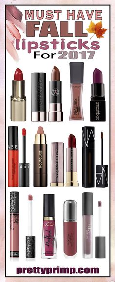 In 2017 there are a multitude of great lipstick colors to choose from that will have your pout looking trendy. This list by #prettyprimp comprises the best fall lipsticks, ranging from drugstore brands like NYX and Revlon to high end brands like Kat Von D. These lipsticks range in finishes, from matte to glossy. Definitely check this out if you need some inspiration for Fall 2017 makeup looks. #beauty #fall2017 #beautytips