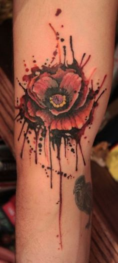 Cool rose watercolor tattoos on thigh leg for girls