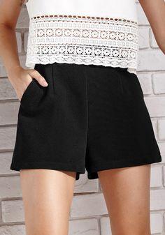 Black Mid Rise Shorts