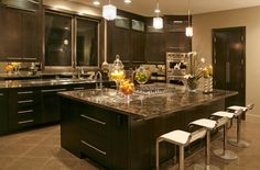 Contemporary Kitchen with Soapstone counters, Eurostyle fortuna adjustable height swivel bar stool, Multiple Sinks, Casement